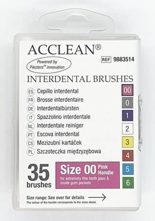 ACCLEAN Interdental 00 - szczoteczki międzyzębowe  EXTRA SMALL 0.32, różowe 35 szt