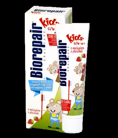 BIOREPAIR KIDS - pasta do mycia zębów małych dzieci bez fluoru, POZIOMKA 50ml