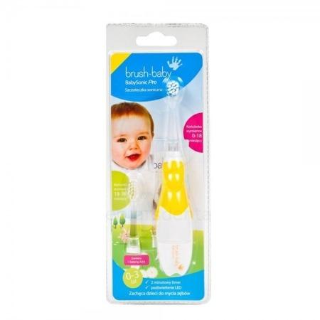 BRUSH-BABY Baby Sonic PRO - szczoteczka elektryczna (soniczna) dla niemowląt i dzieci w wieku 0-3 lat + EXTRA GRATIS