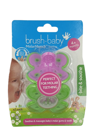 Brush-Baby MolarMunch Teether gryzak dla dzieci od 4 miesiąca życia, 2 sztuki, fioletowo-zielony