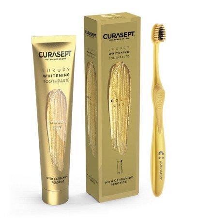 CURASEPT Luxury GOLD zestaw wybielająca pasta do mycia zębów + szczoteczka, 75 ml