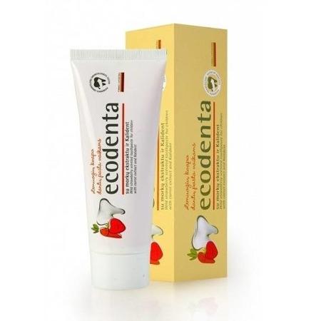 Ecodenta Poziomka - wzmacniająca pasta do mycia zębów dla dzieci z ekstraktem marchwi bez fluoru, 75 ml