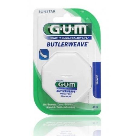 GUM Butlerweave Floss - nić dentystyczna płaska, niewoskowana do czyszczenia przestrzeni miedzyzębowych, 55 m