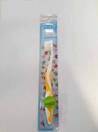 ORTO DENT Mini Silver (Ż) - antybakteryjna szczoteczka do mycia zębów z drobinkami srebra dla dzieci w wieku 0-5 lat, żółta