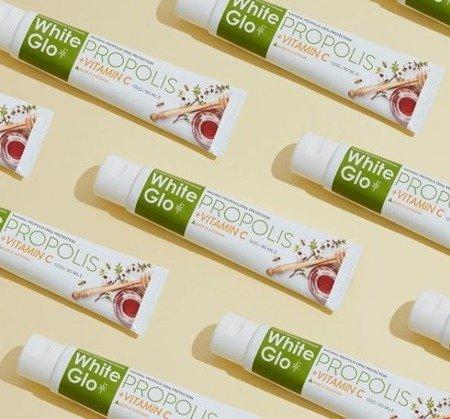 WHITE GLO Propolis+Vitamin C naturalna pasta wybielająca z witaminą C i propolisem wzmacniająca dziąsła, 120 ml