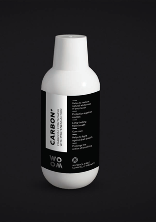 WOOM CHARCOAL CARBON + wybielający płyn do płukania jamy ustnej z węglem aktywnym, 500 ml