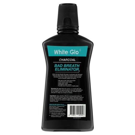 White Glo CHARCOAL Bad Breath Eliminator - czarny płyn do płukania jamy ustnej z węglem aktywnym przeciw nieświeżemu zapachowi z ust, 500ml
