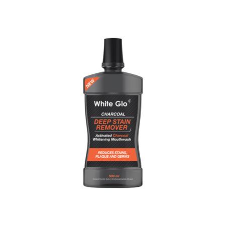 White Glo CHARCOAL DEEP STAIN - czarny płyn do płukania jamy ustnej z węglem aktywnym przeciw powstawaniu przebarwień na powierzchni zębów