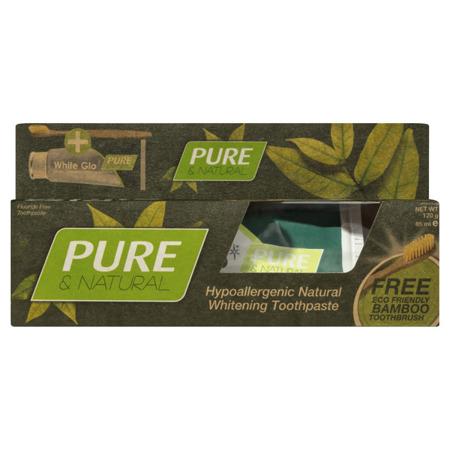 White Glo PURE&Natural organiczna wegańska pasta naturalnie wybielająca ze szczoteczką bambusową