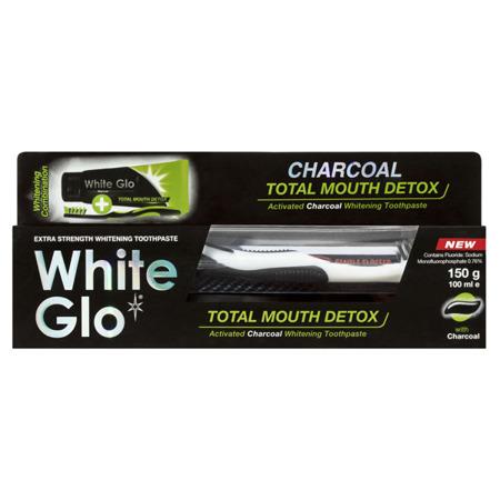 White Glo Total CHARCOAL Mouth Detox antybakteryjna wybielająca pasta z węglem aktywnym 100 ml+ szczoteczka i wykałaczki gratis